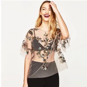 Zara: Embroidered Mesh Top